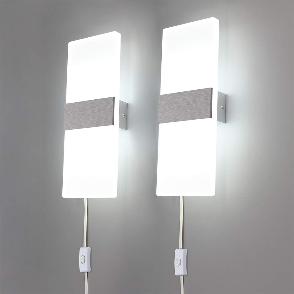 Lightess Modern Wall Sconces Plug in, 12W Up Down LED Wall Lights Acrylic Wall Lamp for Living Room Bedroom Corridor, Cool White, Set of 2 by LIGHTESS