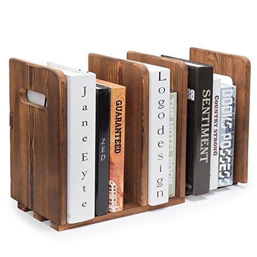 MyGift Brown Wood Adjustable 3-Slot Desktop Bookshelf - Desktop Cubbies