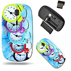 Liili Wireless Mouse Travel 2.4G Wireless Mice with USB Receiver, Click with 1000 DPI for notebook, pc, laptop, computer, mac book Colorful clocks on table blue background Image ID 22221221