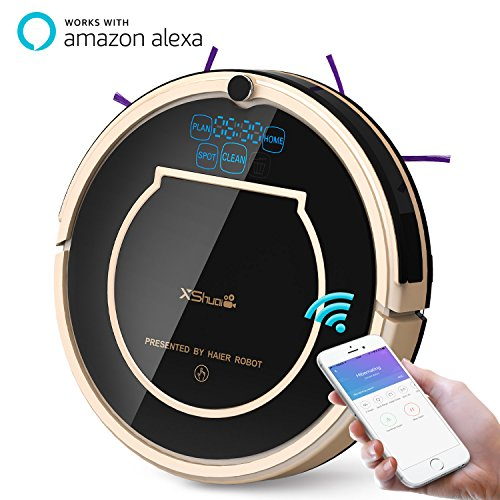 Haier XShuai T370 Robot Vacuum Cleaner with Siri & Alexa Voice Control Wi-Fi Connected Self-Charging Gyroscope Navigation 1500Pa Powerful Suction HEPA Filter Pet Hair & Allergies Friendly by XShuai