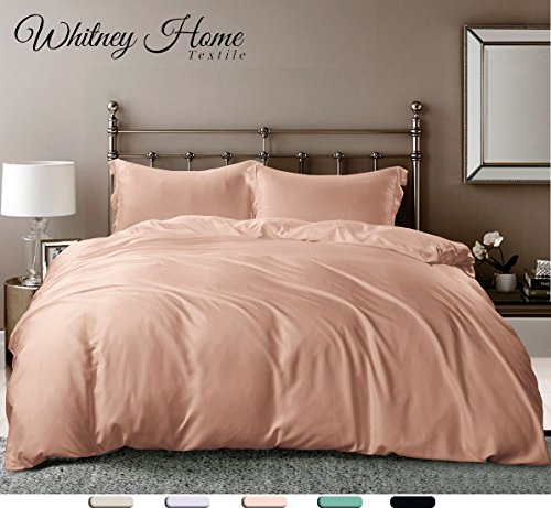Peach Comforter Sets (Hotel Quality Silky Soft 100% Bamboo-Derived Rayon Pink/ Peach Duvet Cover Set King Size 3 Pieces (1 Duvet Cover, 2 Pillow Shams) Hypoallergenic Breathable Comforter Case Quilt Cover, Solid Bedding)