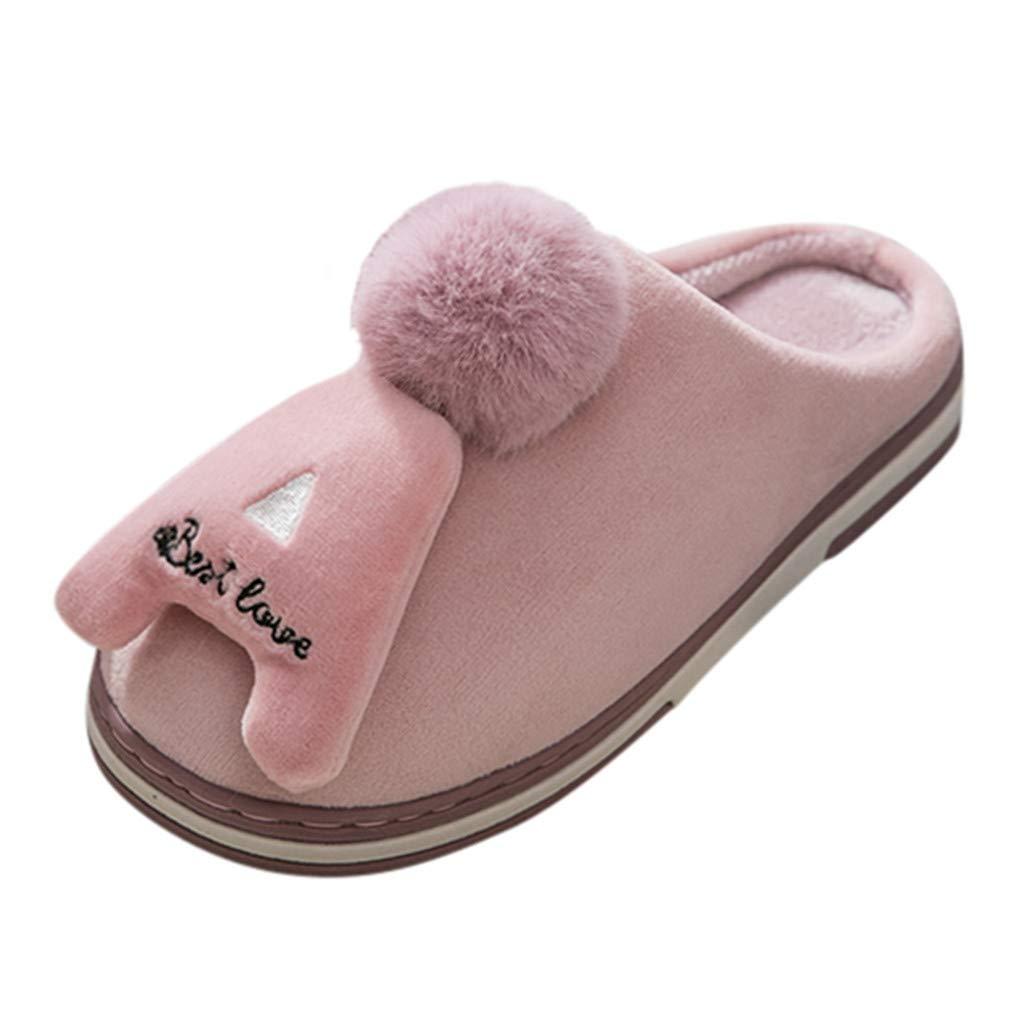 Meigeanfang Women Cotton Slippers Lovely Letter Plus Velvet Warm Non-Slip Indoor Couple Home Shoes (Purple,8US) by Meigeanfang
