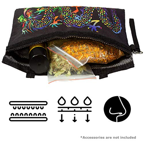 Smell Proof Bag Stash Pouch - Dog Tested for Odor Proof | Discrete Container for Herbs & Anything With Strong Intense Stink | Carbon Lined for Maximum Efficiency | Large Black Case 12x9 Inches