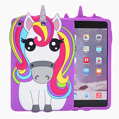 Logee Purple Unicorn Case for iPad Mini 4,3D Cartoon Animal Cute Soft Silicone Rubber Character Design Purple Cover, Kawaii Fashion Cool Protective Skin Shell for Kids Child Teens Girls (iPad Mini 4)