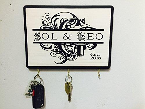 7x9 Personalized Monogram Key Holder/ Plaque. Personalized Wedding Gift. Awesome for Engagement Gift, Bridal shower, Couple's Gift, Housewarming. Wedding gift idea. Perfect Realtor Gift. (Monogram Sawtooth)
