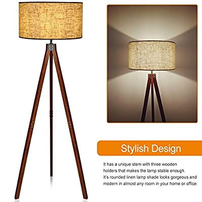 LEPOWER Wooden Floor Lamp, Reading, Decoration for Bedroom, Living Room
