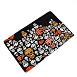 LANGUGU Home Garden Non-Skid / Slip Rubber Back Kitchen Mat Bath Rug Entrance Mat Halloween Pumpkin Skull Machine Washable Indoor Outdoor Hallway Carpet