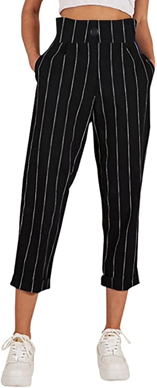 Womens Slim Striped Straight Leg Casual Button Capri Pants with Pockets