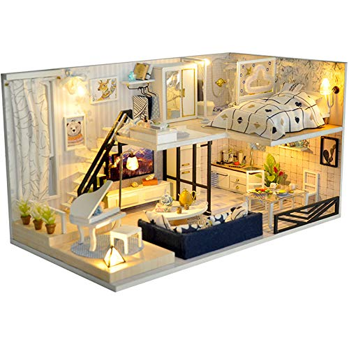 TuKIIE DIY Wooden Miniature Dollhouse Toy Model Kits with Furniture and Accessories DIY Assembling Handmade House Miniature Handcrafts Toys Great Birthday Gift for Children Teens ()