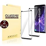 (Black)Samsung Galaxy S9 Screen Protector, Huritan [2 - Pack] Half Screen Tempered Glass Screen Protector [Case Friendly] [Anti-Scratch][Anti-Fingerprint][Bubble Free] for Samsung Galaxy S9