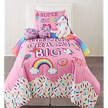 Amazon Com Rainbows Amp Unicorns Girls Twin Comforter Set