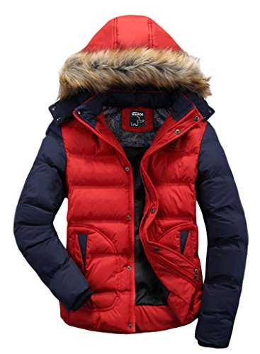Wantdo Men's Casual Fur Hooded Outwear Jacket Large Red Red US Large