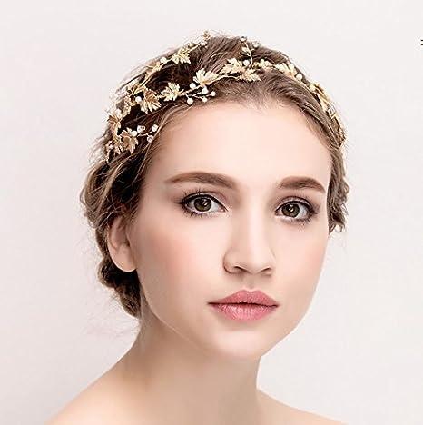 Bridal Tiara Boho Headpiece Bridal Hair Accessory Gold Headband Gold Pearl Wreath Bridesmaid Band Bridal Hair Leaves Bridal Headband