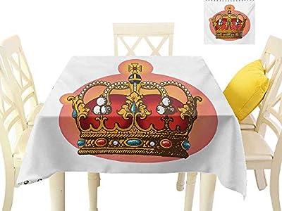 familytaste Wedding tablecloths Queen,Victorian Baroque Style Crown Design Coronet Adornments Engravings Emperor Monarch,Multicolor 3D Dital Printing Covers