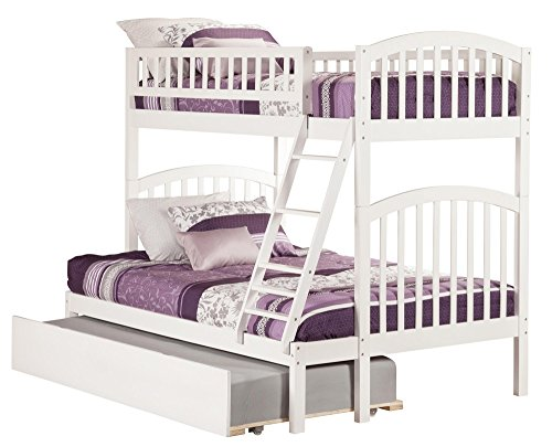 Atlantic Furniture AB64252 Richland Bunk Bed with Twin Size Urban Trundle, Twin/Full, White