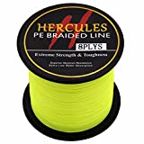 HERCULES 300m 328yds Fluorescent Yellow 10lbs-300lbs Pe Braided Fishing Line 8 Strands (50lb/22.7kg 0.37mm)
