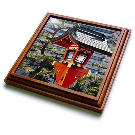 - 3dRose Danita Delimont - Japan - Red lantern in Fushimi Inari Shrine, Kyoto, Japan - 8x8 Trivet with 6x6 ceramic tile (trv_312771_1)