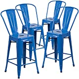 """Cheap Flash Furniture 4 Pk. 24"""" High Blue Metal Indoor-Outdoor Counter Height Stool with Back"""