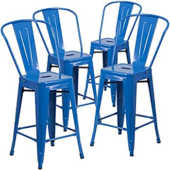 Amazon Com Flash Furniture 2 Pack 24 Quot High Blue Metal