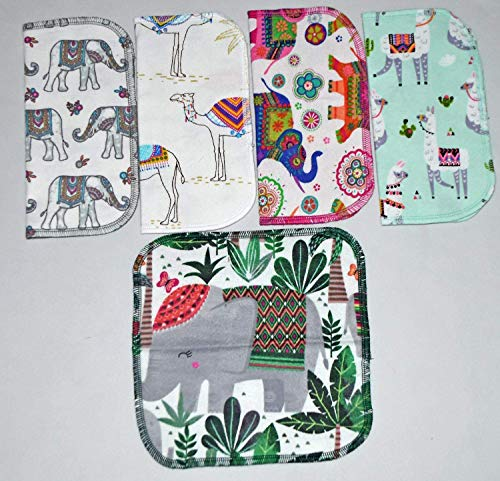2 Ply Printed Flannel 8x8 Inches Set of 5 Little Wipes Exotic Palace Pets