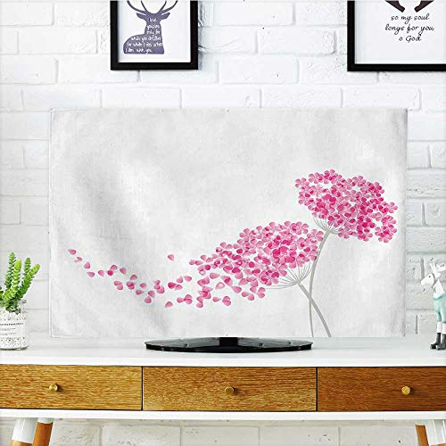 Elegance Steering Wheels - Auraisehome Dust Resistant Television Protector Season Blossoms Botany Bouquet Garden Romance Elegance Illustration Baby Pink Eggshell tv dust Cover W25 x H45 INCH/TV 47