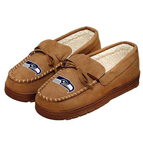 NFL Football Mens Team Logo Moccasin Slippers Shoe - Pick Team (Seattle Seahawks, Large)
