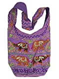 Purple Cotton Elephant Embroidery Bohemian / Hippie Sling Crossbody Bag India