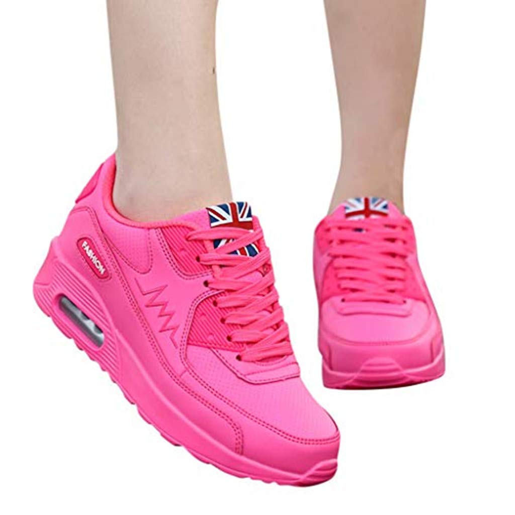 Sharemen Women's Fashion Casual Lace Up Breathable Sport Running Platform Sneakers Shoes(Red,US: 6)