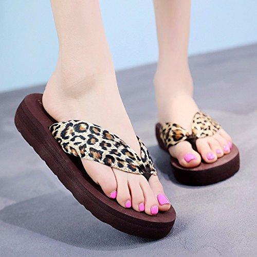 Zapatos Inferiores Frío Flip Grueso de de Zapatillas XIAOGEGE Fashion Flops leopardo Playa Sandalias Slippers pies wH0fwqYFn
