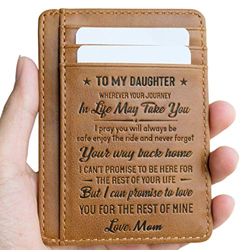 Card Memory Pocket (Card Holder Minimalist Wallets Gift for Daughter from Mom Wallet RFID Front Pocket Wallet (To My Daughter - Love Mom))