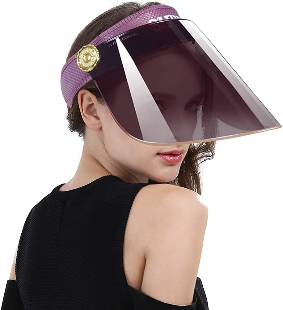 Women Anti-UV Visor Hat UPF40 Solar Full Face Plastic Shield Headband Sun Protection Riding Cap