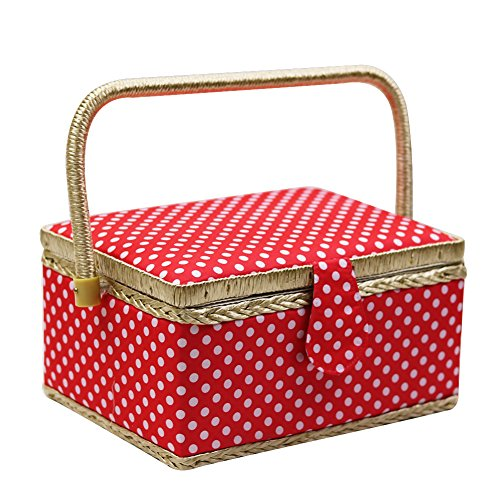D&D Sewing Basket with Sewing Kit Accessories – Red Polka Dots
