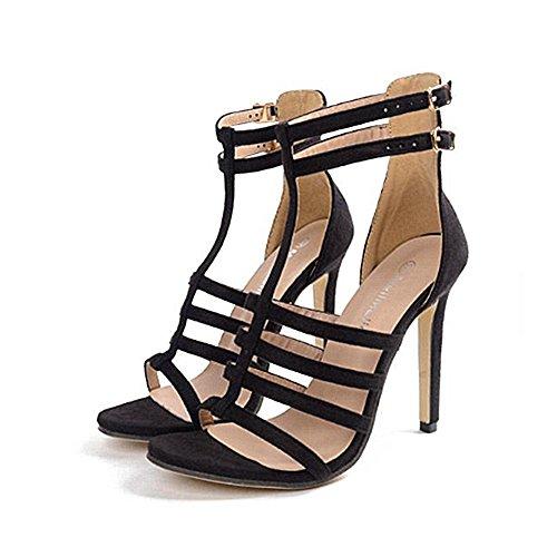 tacco Roman AnchengKAO 38 con 3 Thin tacchi Shoes 2 EU alto Dimensione Splendidi Nero T Thin Nero Colore Sandali 00R5qrw