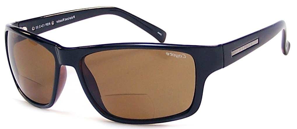 Readers.com The Coyote Polarized Bifocal - BP-13 +1.50 Black with Amber Lenses Reading Glasses
