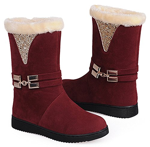 Calf IDIFU Sequins Winter Flat Booties Mid Antiskid Womens Boots Fur Lined Red Snow zzrZFqwv