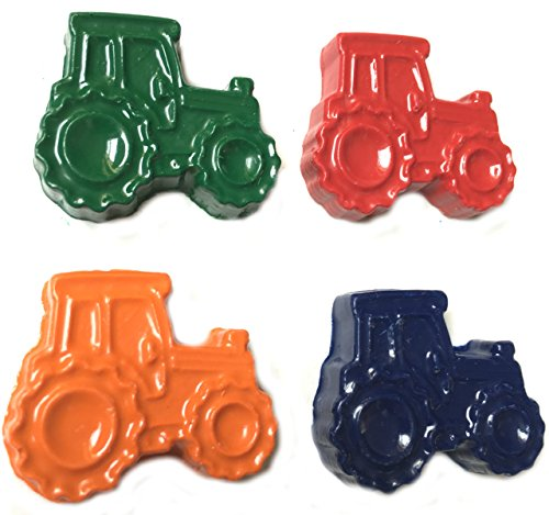 48 Tractor Crayons by MinifigFans - Birthday Party Favors - 12 Sets of 4 Crayons - Made in the USA from Crayola Crayons
