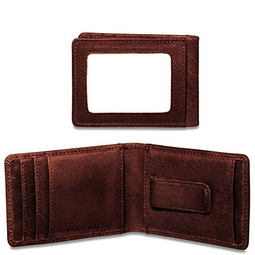 Jack Georges Voyager Bi-Fold Leather Wallet w/Money Clip in Brown