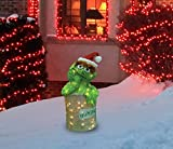 ProductWorks 24-Inch Pre-Lit 3D Oscar the Grouch with Santa Hat Christmas Yard Decoration, 50 Lights