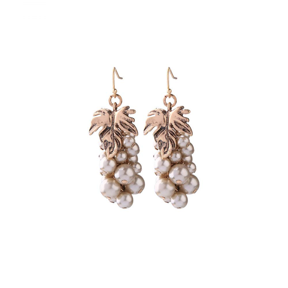 Wanmei-erhuan Cute Information Pearl Grape Beaded Dangle Drop Earrings For Girls Holiday
