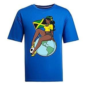 Custom Mens Cotton Short Sleeve Round Neck T-shirt,2014 Brazil FIFA World Cup Soccer Girls blue
