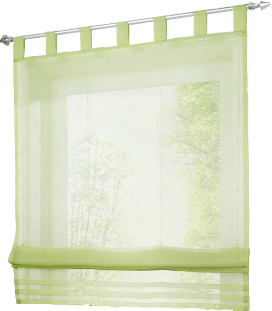 HomeyHo Tab Top Semi Sheer Curtain Sheer Curtain Kitchen Window Sheer Curtains for Living Room Sheer Curtain for Bed Curtains Sheer Curtain Kitchen Sheer Curtain Bedroom, 39 x 61 Inch, Green