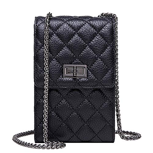 NeverOut Women Cell Phone Crossbody Bag Purse Soft Quilted Cow Leather Handbag with 3 Card Slots and Shoulder Strap (black)