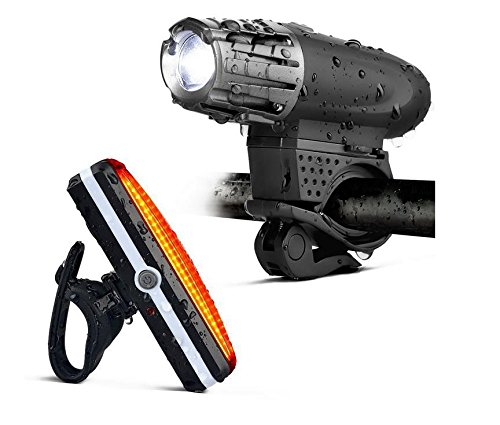 New upgrade LED rechargeable bike front and rear light, Waterproof bicycle light set, safety flash bike light for night 4 modes for front light and 6 modes for - Shades Bike