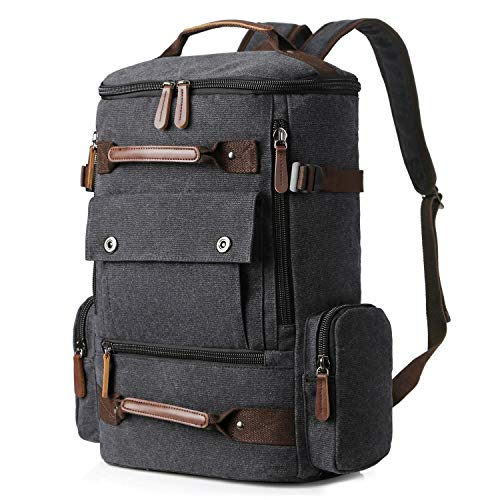 Yousu Canvas Backpack, Mens Large Travel Duffel Bags Fashion Multi Functional Backpacks Canvas Rucksack Vintage Outdoor Traveling Daypack Black
