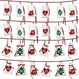 Aparty4u Felt Christmas Advent Calendar 2018, 24 Days Countdown Advent Calendar Garland for Holiday Christmas Decorations