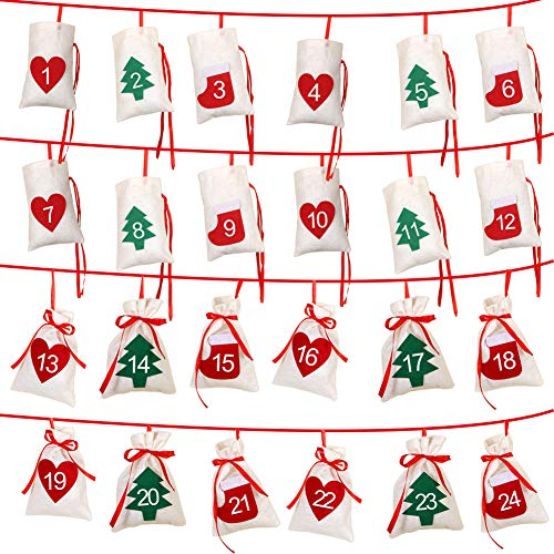 Aparty4u Felt Christmas Advent Calendar 2018, 24 Days Countdown Advent Calendar Garland for Holiday Christmas Decorations