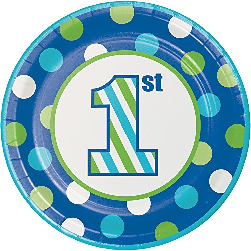 Creative Converting 415106 96Count Dessert/Small Paper Plates, Sweet Stripes- Boy, , Sweet Stripes - Boy