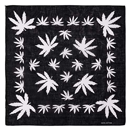 Marijuana Hemp Leaf Logo 420 Weed Black Bandana