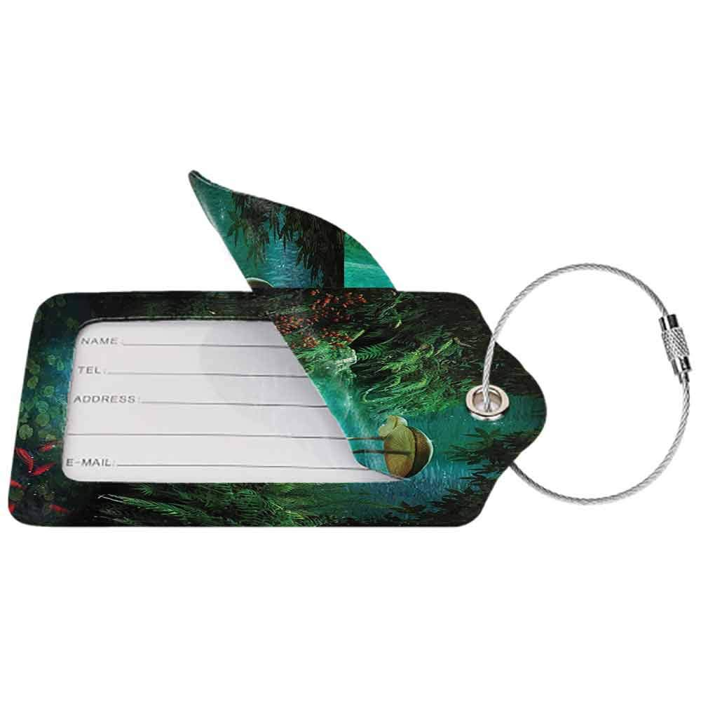 Printed luggage tag Fantasy House Decor View Of Fantasy River with A Pond Protect personal privacy Fish And Mushroom in Jungle Trees moss eden W2.7 x L4.6