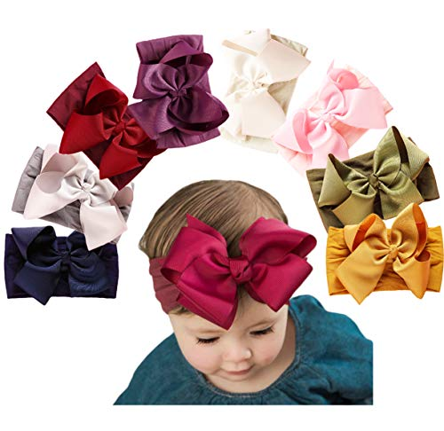 Baby Girl Nylon Headbands Newborn Infant Toddler Hairbands Knotted Children Soft Headwrap Hair Accessories (A-8pack-mul2)